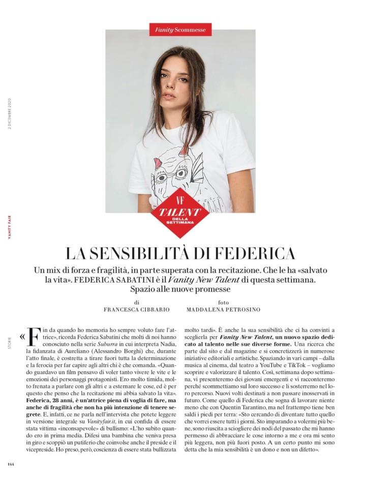 FEDERICA SABATINI SU VANITY FAIR