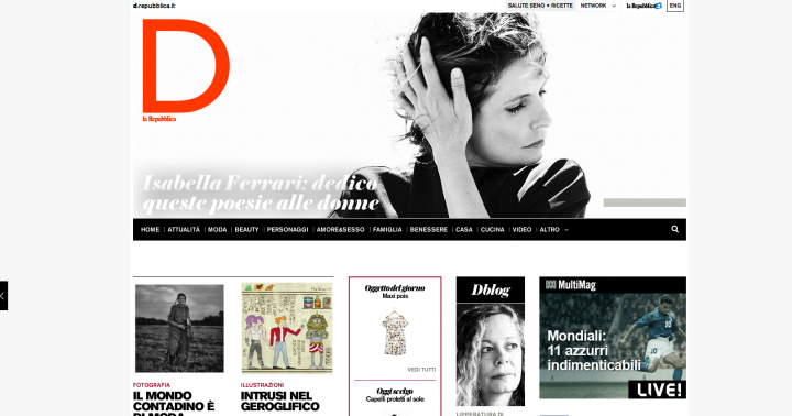 Isabella ferrari su d repubblica woolcan for Home page repubblica