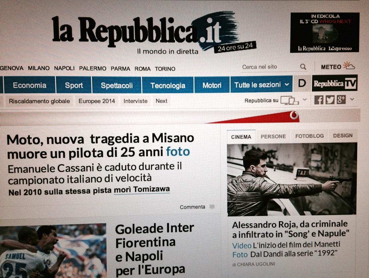 Alessandro roja sulla homepage di la repubblica it woolcan for Repubblica homepage it