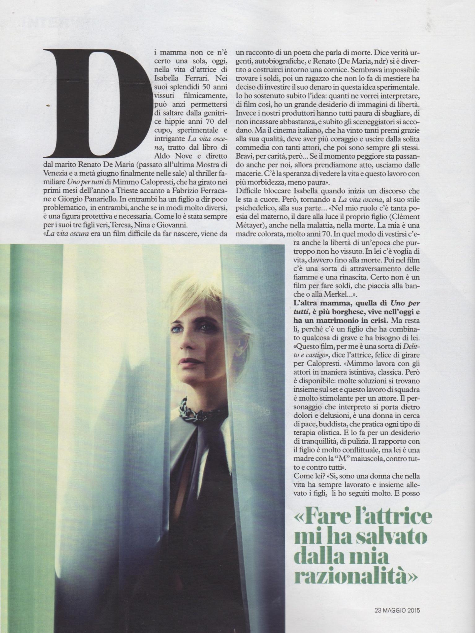 Isabella Ferrari D di Repubblica 23-5-2015 2