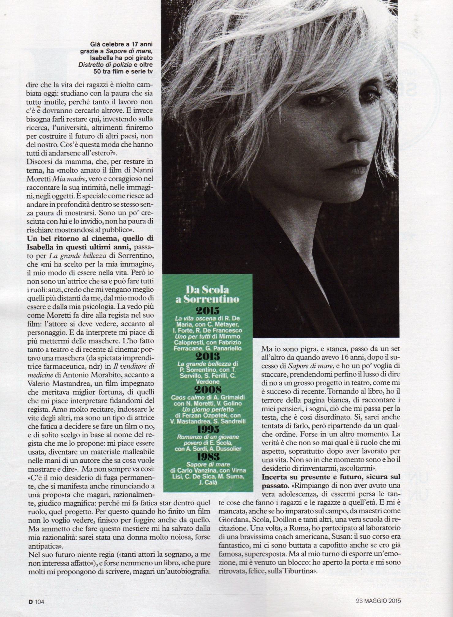 Isabella Ferrari D di Repubblica 23-5-2015 3