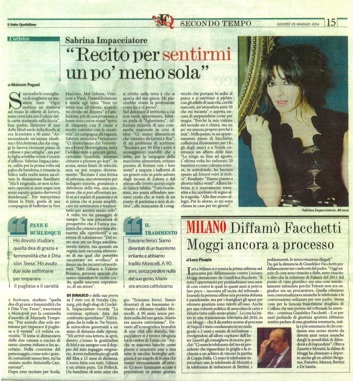 Sabrina Impacciatore Il Fatto Malcom Pagani maggio 2014