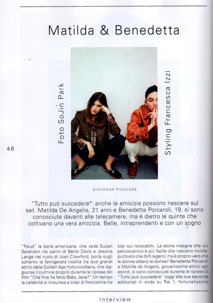 MATILDA DE ANGELIS E BENEDETTA PORCAROLI SU L'OFFICIEL