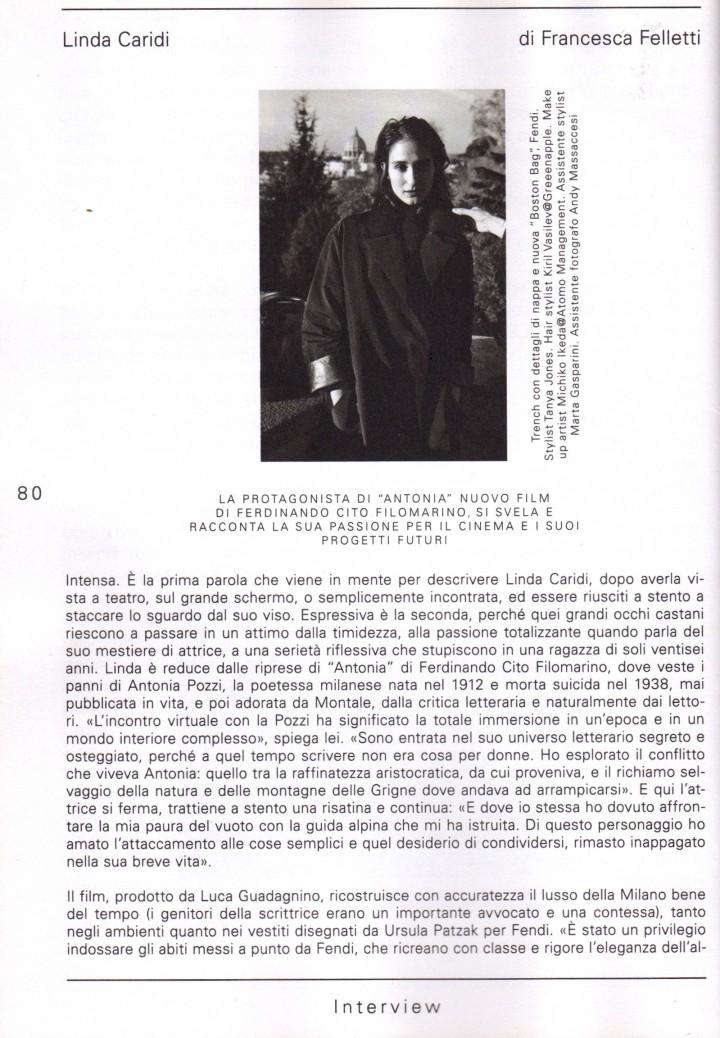 LINDA CARIDI SU L'OFFICIEL