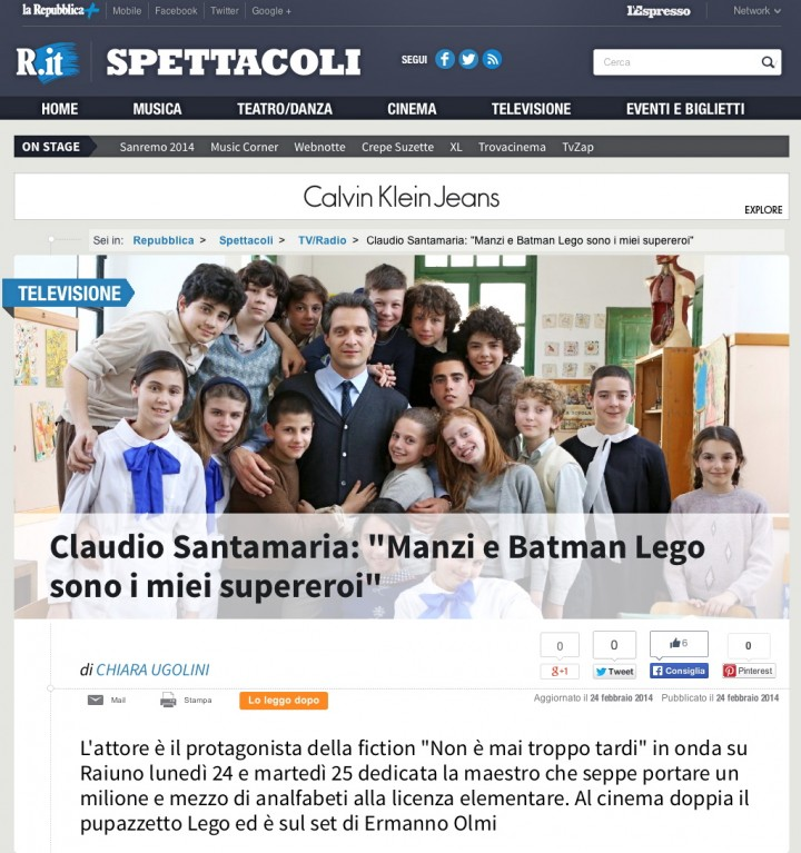 Claudio santamaria in homepage di repubblica it woolcan for Repubblica homepage it