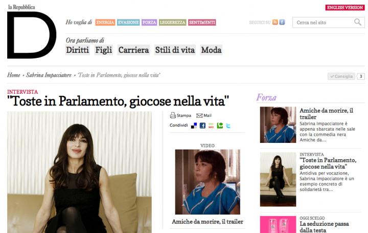 Sabrina impacciatore in homepage di d di repubblica woolcan for Repubblica homepage it