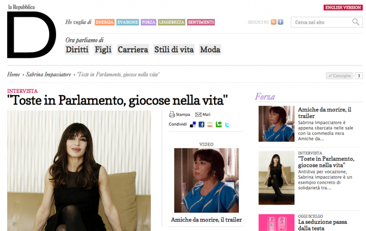 Sabrina impacciatore in homepage di d di repubblica woolcan for Home page repubblica
