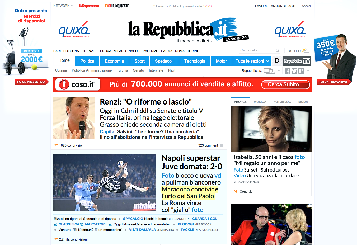 Isabella ferrari sulla homepage di repubblica it woolcan for Repubblica homepage it