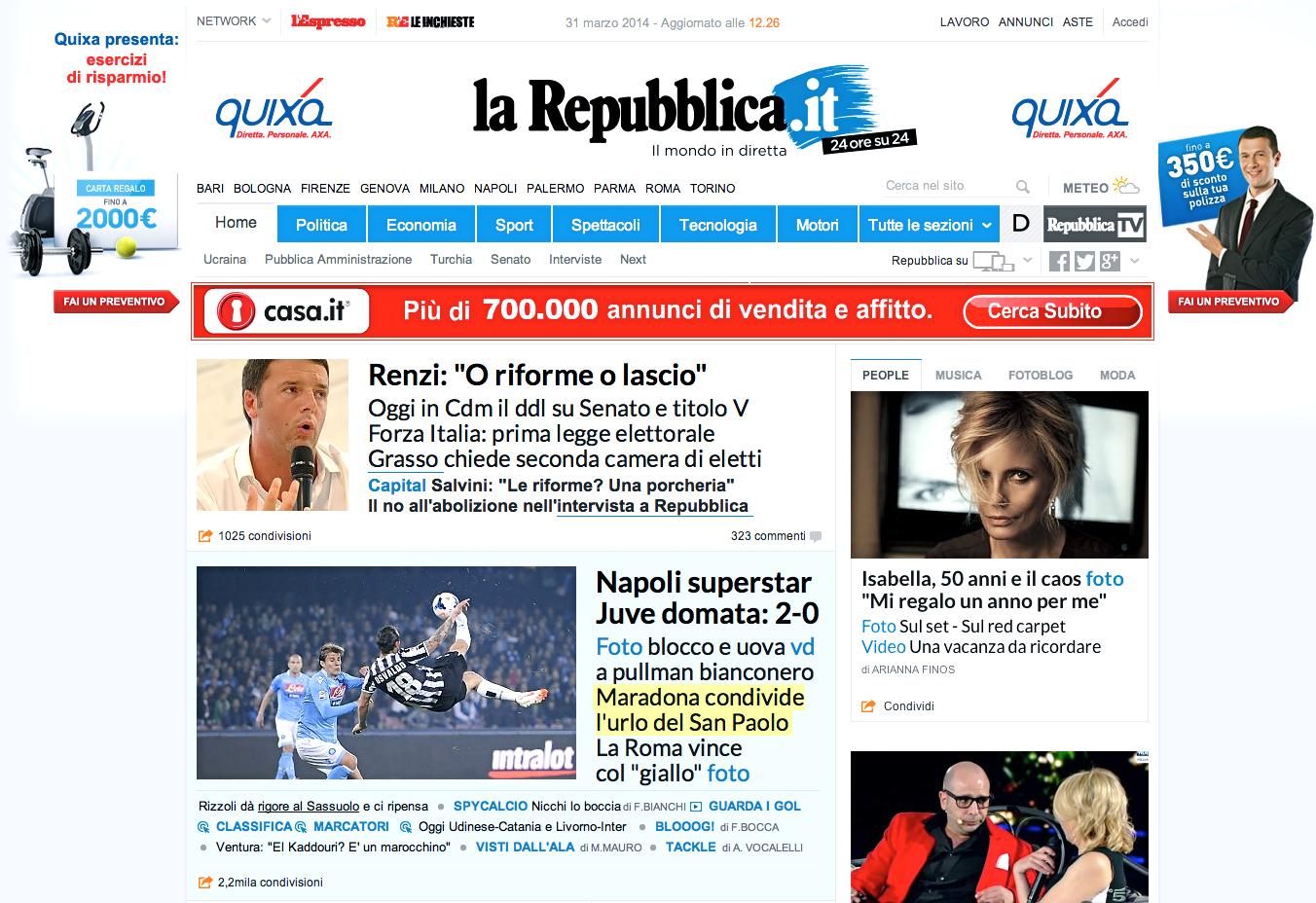 Isabella ferrari sulla homepage di repubblica it woolcan for Repubblica homepage it