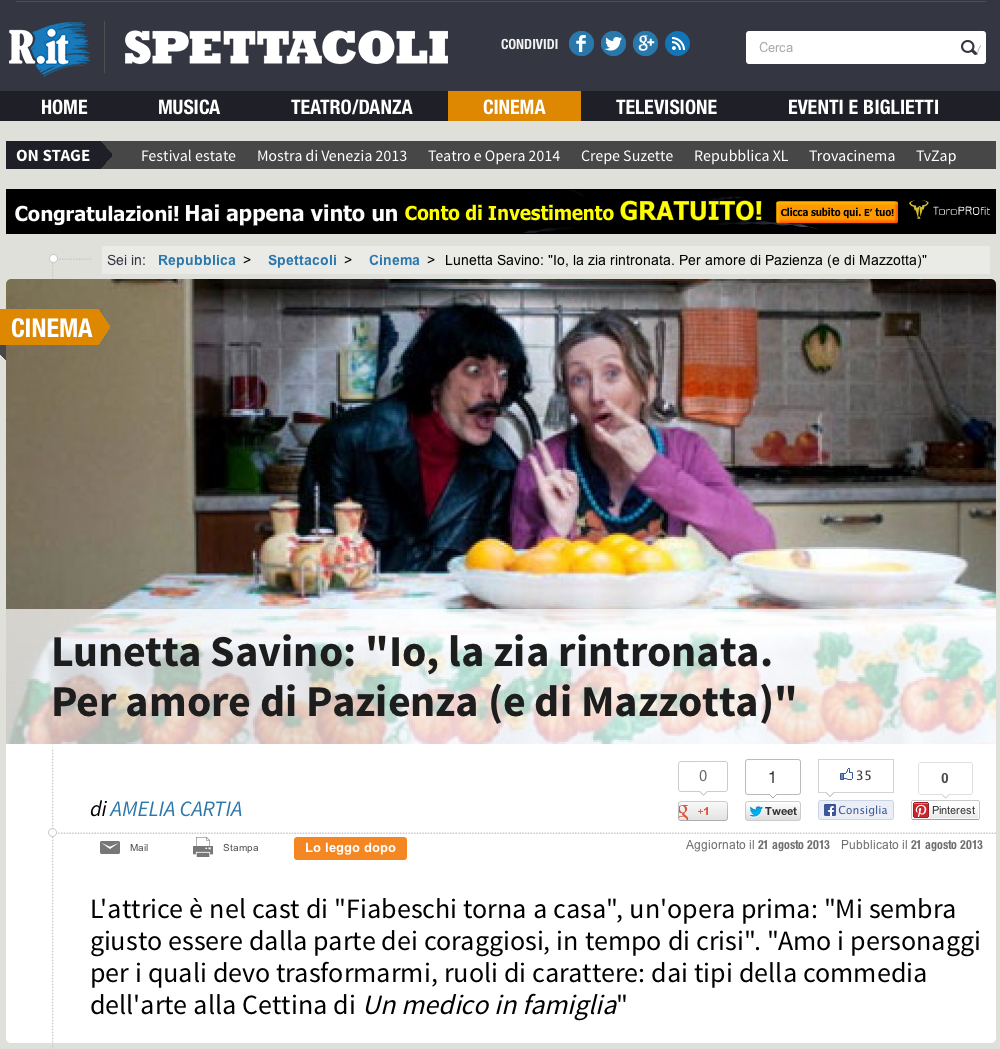 Lunetta savino in homepage di repubblica it woolcan for Repubblica homepage it