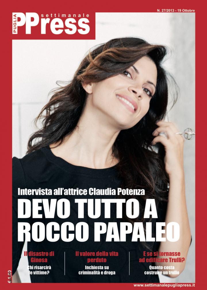 CLAUDIA POTENZA – COVER SUL SETTIMANALE DI PUGLIA PRESS
