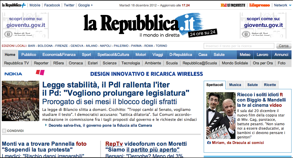 Miriam giovanelli in homepage di repubblica woolcan for Repubblica homepage it