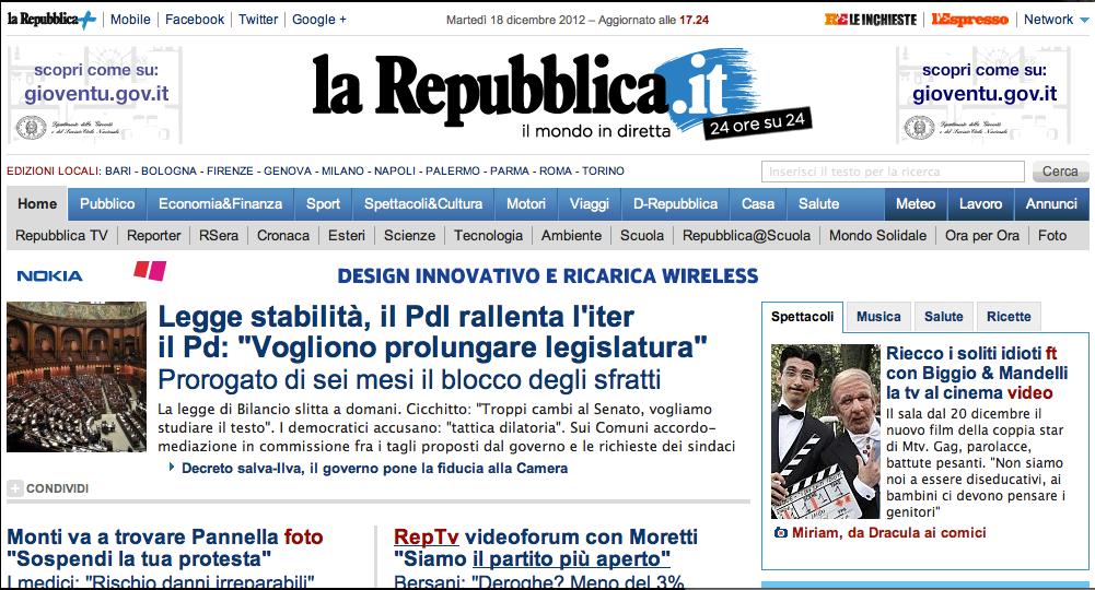 Miriam giovanelli in homepage di repubblica woolcan for Repubblica homepage it