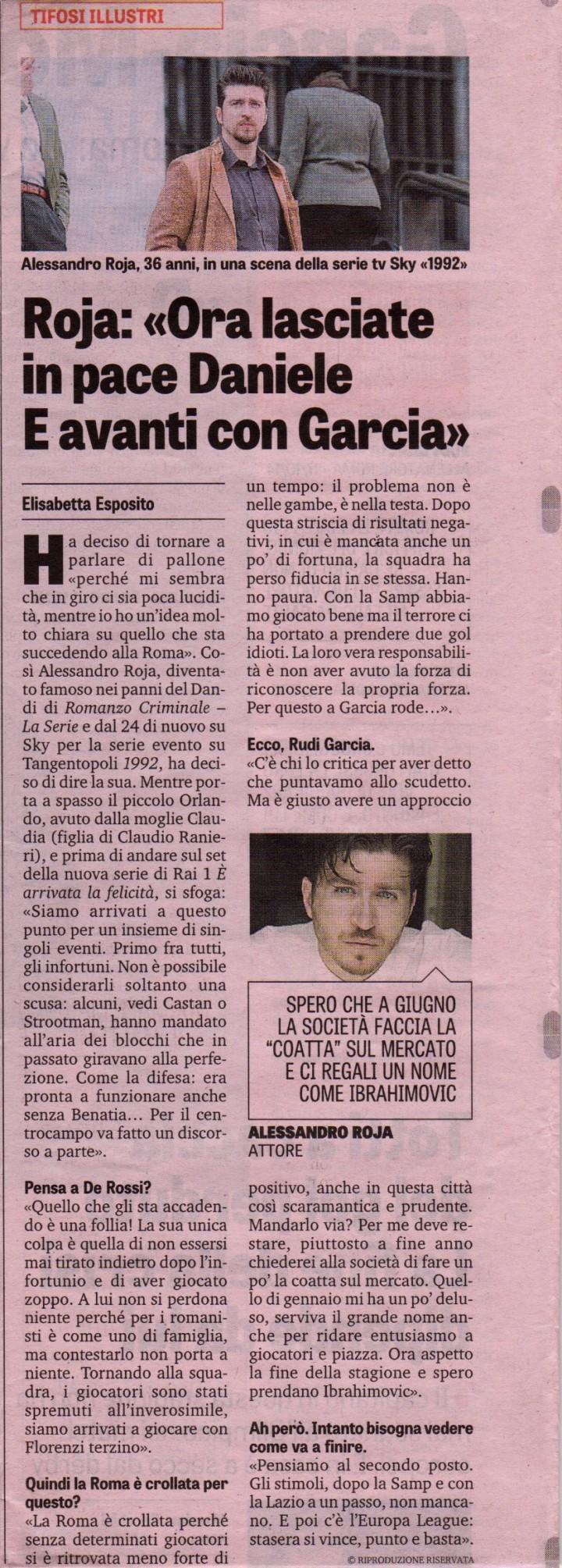 ALESSANDRO ROJA SU LA GAZZETTA DELLO SPORT